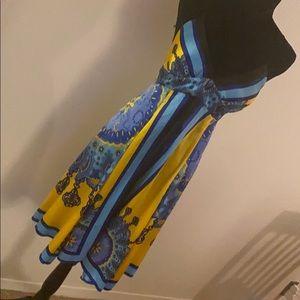 Gorgeous Blue & Yellow Silky Strappy Dress